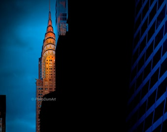 Sunset on Chrysler Building, New York City, USA, color photography, skyscraper façade, orange & blue, art deco architecture