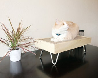 Modern Cat Furniture | Wood Perch | Pet Bed  | Mid Century with Hairpin Legs | Replacable Scratcher