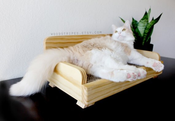 Modern cat furniture replaceable scratcher wood cat by woodstripes - Modern cat scratcher ...
