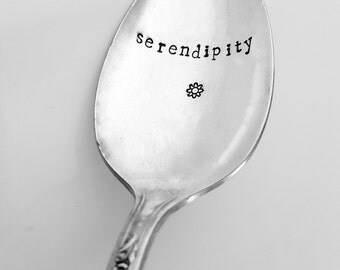 Serendipity Spoon, Hand Stamped Spoon, Vintage, Silverplate, Spoon, Custom, Personalized, Stamped Spoon, Gift, Present, Friend, Best friend