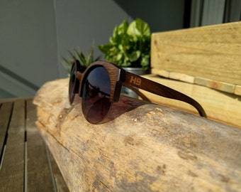 Wooden clubmaster Polarised Sunglasses