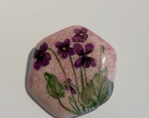 Hexagonal Flower Pin Pin Purple Orchids Hand Painted Leafs Brooch Womens Floral