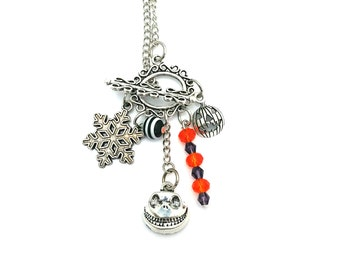 "Halloween Jack Skellington Nightmare Before Chirstmas Inspired Glass Beaded Charm 26"" Chain Necklace Silver Tone"