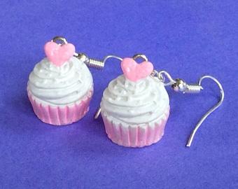 Cupcake Dangle Earrings, Mini Food, Kawaii Jewelry