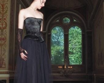 Long Black Tulle / Net Wrap Skirt - Gothic - SALE Last few!