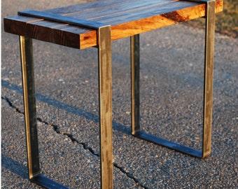 Reclaimed Walnut Wood Side Table with Steel Legs