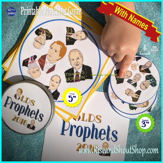 "LDS PROPHET Matching Game Shout Out BUNDLE; 3"" & 5"" cards; General Conference, Primary, Youth, Sunday School, Easy: Print, Cut, Learn, Play"