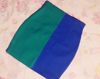 90s denim colorblock skirt