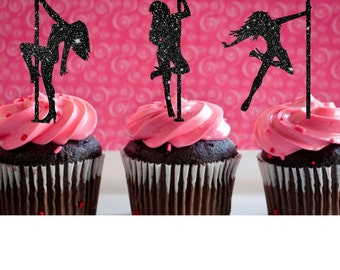 Bachelor Party Man's Birthday Pole Dancer Cupcake Toppers for the Groom Party Sexy  Girl Cupcake Toppers