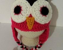 Crochet Owl Hat-Baby Crochet Beanie-6-12 Month Old Crochet Beanie-Infant Owl Hat-Owl Beanie-Kids Crochet Owl Hat