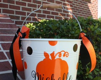 Custom Made Metal Halloween Trick or Treat Bucket