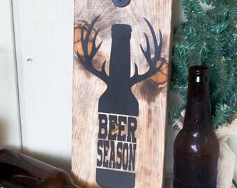 Painted Wood Beer Season Bottle Opener Sign Free Personalization