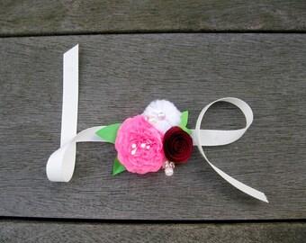 Pink Paper Flower Wrist Corsage / Bracelet