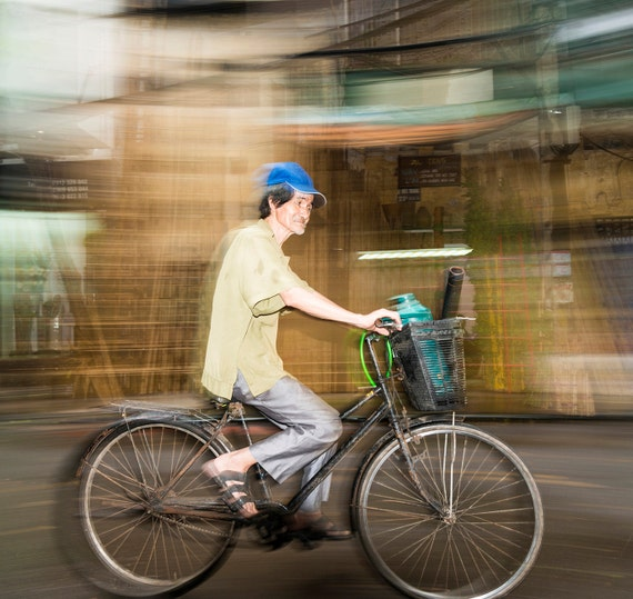 THE HANOI COMMUTE 1. Street Photgraphy, Hanoi Picture, Vietnam Print, Cycling Picture, Photographic Print, Limited Edition.