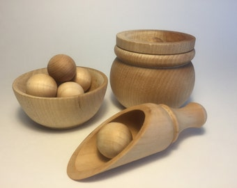 Wooden Balls and Bowl, Scooping, Transfer Work, Natural Toy, Montessori Toddler Activity, Waldorf, Fine Motor, Wooden Toys Boys Girls, Scoop