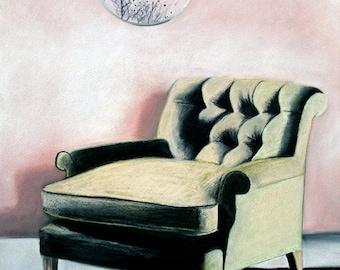 pastel drawing - Bombay Pink - green armchair - mirror - trees - bird flock - shadow - afternoon - narrative art - Australian artist - pink