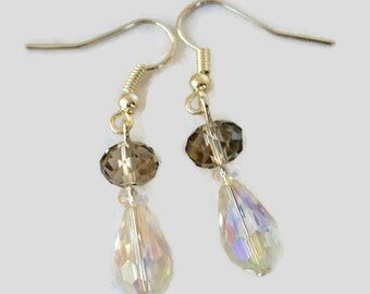 Sparkly Gray Earrings, Gray Clear Crystal, Gray Bridal Earrings, Drop Gray Clear Crystal Earrings, Prom Earrings, Crystal Dangle