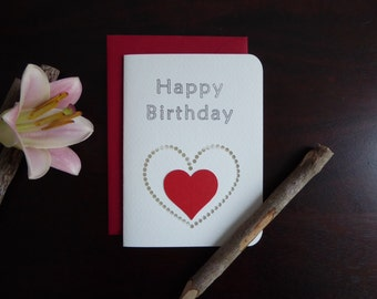 Handmade Birthday Card - Paper Cutout Greeting Card - Blank Inside