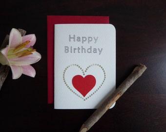 Handmade Birthday Card - Paper Cutout Greeting Card - Blank Inside