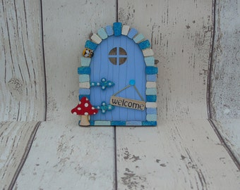 Fairy or Elf Door Simply Blue Beautiful Handmade Various options