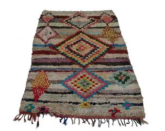 "69""X47"" Vintage Moroccan rug woven using different scraps of used textiles / boucherouite / boucherouette"