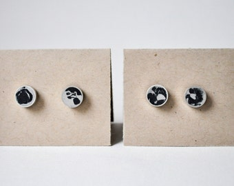 Concrete  &  Silver Stud Earrings - Small