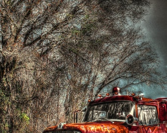 Old Rustic Firetruck, Red, Wall Art, Photography, Lynchburg, South Carolina