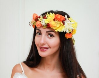 Ready to ship Fall flower crown Flower halo Bridal floral crown  Flower crown Flower hair wreath Girl flower crown Headpiece