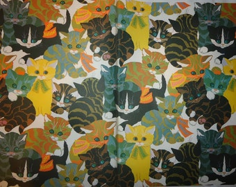 Vintage 1970's Happy Birthday Cats & Kittens Gift Wrapping Paper - 1 Unused Full Sheet Gift Wrap - Groovy Funky Cool