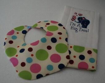 Baby Shower Gift.  Bib and Burb  Gift Set