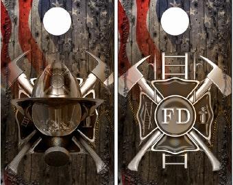 Firefighter Ghost Cross Mask Flag Wood LAMINATED Cornhole Wrap Bag Toss Decal Baggo Skin Sticker Wraps