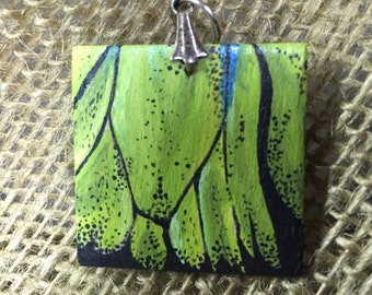 Pieces of me butterfly wings- green wing pendent