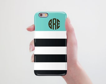 Stripes Phone 7 Case Monogram iPhone Case iPhone 7 Plus Case to Samsung Galaxy Case iPhone Custom Case to Galaxy S8 Personalized Case RR_124