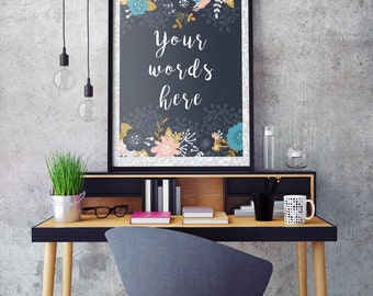 Custom quote printable, personalized print, custom text, your words, wall art,  home decor, personalised printable, little tiger designs