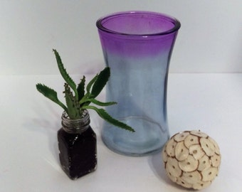 Umbra Purple vase, Modern glass container, ultra violet, kitchen storage, flower vase, vintage thick glass, pencil holder, candle holder