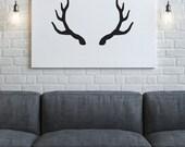 Antler Print, Black and White Art, Modern Art Print, Wall Art, Modern Decor, Digital Download, Black Antler Silhouette