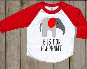 E is for Elephant Raglan Sleeve Shirt Wildlife Shirt Elephant Shirt Personalized Shirt