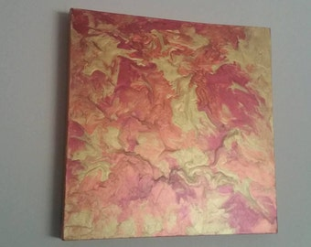 Marble Effect Acrylic Painting - 30cm Square Copper Tones