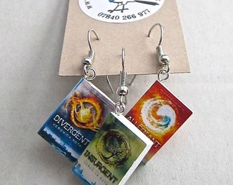 """Divergent Trilogy Book Earrings from """"The Earring Library"""""""