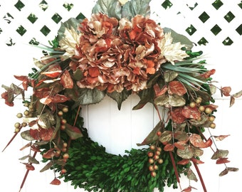 Boxwood Wreath / Autumn Wreath / Fall Floral Wreath / Thanksgiving Wreath / Farmhouse Wreath /  Fall Holiday Wreath / Indoor Wreath