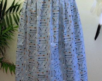 Pleats to Meet You Skirt/ Skirt/ Midi/ Organic Cotton/ High Waisted/ Pleated/ Blue/ Archery/ Handmade