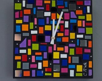 Colorful Wall Clock, Glass Art Clock, Modern Clock, Wall Clock, Abstract Wall Clock, Colorful Clock, Abstract Art, Colorful Art