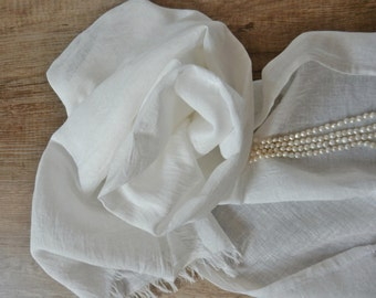 linen shawl summer scarf flax shawl scarf linen cotton scarf natural flax linen white scarf summer linen Woman Fashion Accessories