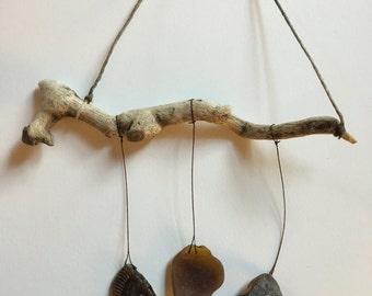 Driftwood and Seaglass Mobile