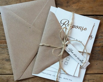 Rustic wedding invitation set, gold foil weding invitation, rustic wedding, elegant wedding invitation suite, twine wedding invitation