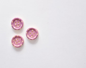 Purple Polka Dot Button Sewing Notion - Wooden Buttons - Craft Buttons - 15 mm Button - Half Inch Button - Small Button - 4 Hole Button
