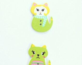 Kitten Button - Shankless Buttons - Cat Button Embellishment - Wooden Buttons - Scrapbook Buttons Notions - Craft Supply Flat back Buttons
