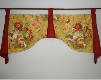 """Richloom Fragonard Daffodil French Yellow Red Toile Damask Tab Top Valance 41"""" to 43"""" Wide with Trumpet and Jabots"""