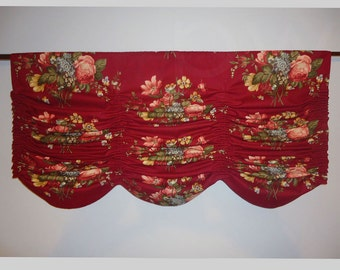 "Austrian Valance Faux Shade Kingsway Montgomery Gathered Deep Red Woven Rose Floral Fabric Scalloped Shape 40"" Wide"