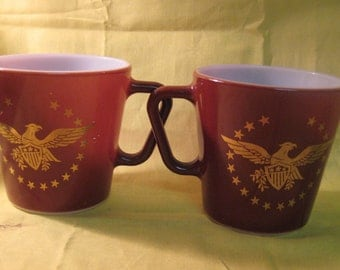 Pyrex Federal Eagle 10 oz. Mugs with D handles #1410 - set of 2